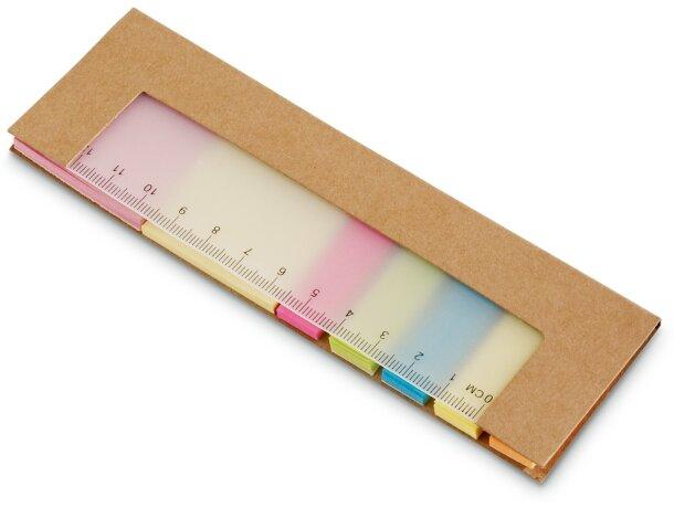 Set de notas adhesivas con regla personalizada natural