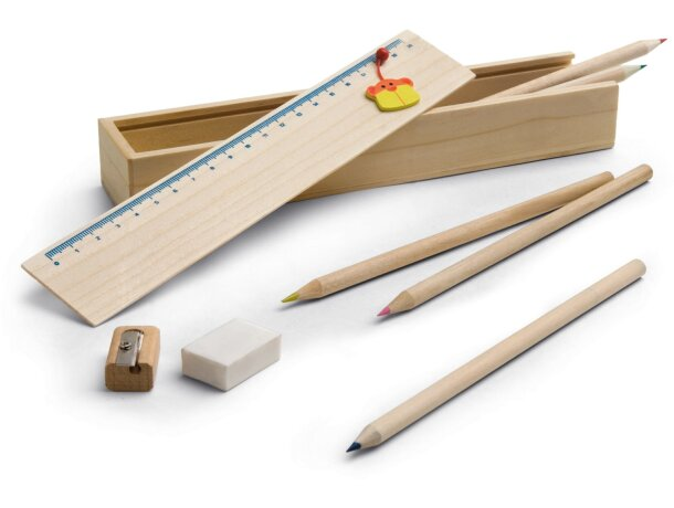 Estuche de madera para dibujar y colorear personalizado
