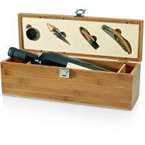 Set de vino en caja botellero de madera con 4 accesorios barato