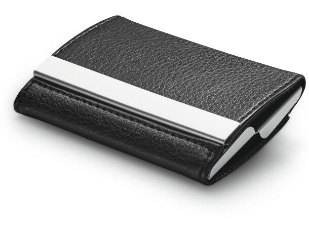 Porta tarjetas combinado en metal y simil piel barato negro