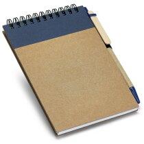 Bloc de notas pequeño con bolígrafo reciclado azul