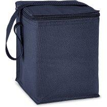 Bolsa nevera con espacio para 4 latas personalizada azul