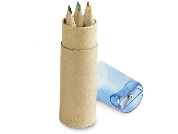 Caja con sacapuntas y 6 lápices azul personalizado