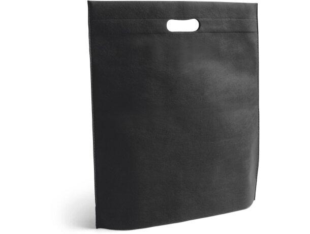 Bolsa de feria plana personalizado negra