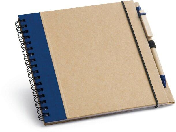 Libreta de cartón tamaño A5 y boli a juego personalizada azul
