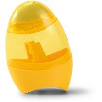 Sacapuntas con contenedor y goma personalizado amarillo