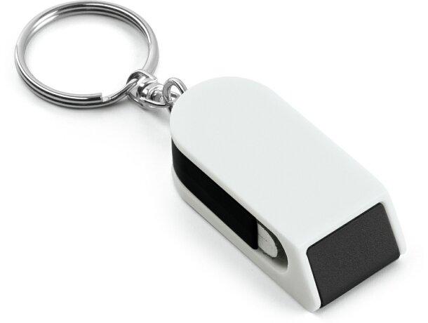 Llavero con soporte móvil y limpiapantallas personalizado negro