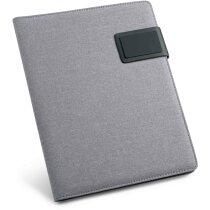 Portafolios tamaño A5 con acabado polipiel personalizado gris claro