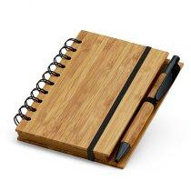Bloc de notas con boli y tapas de bambu natural