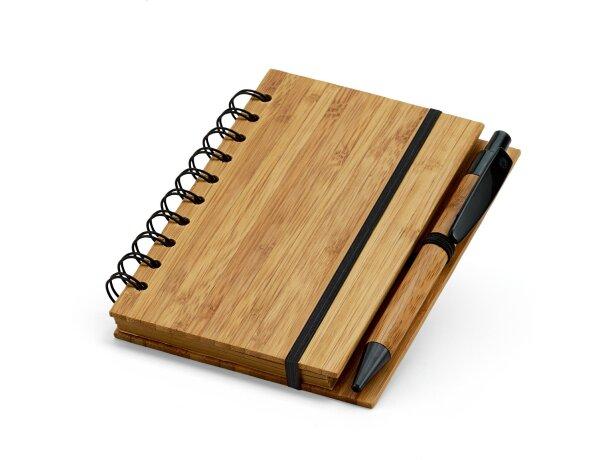 Bloc de notas con boli y tapas de bambu personalizada natural