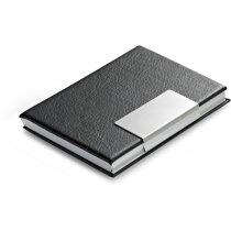 Porta-tarjetas con detalles de aluminio personalizado negro