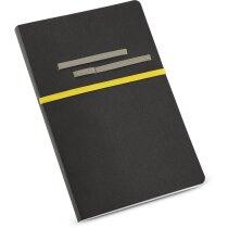 Bloc de notas con acabado polipiel amarilla personalizado
