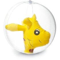Balón hinchable con muñeco interior amarillo grabado