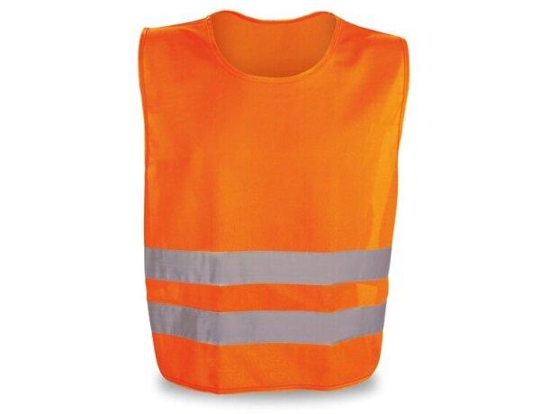 Chaleco en poliester de alta visibilidad naranja
