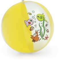 Balón hinchable infantil con dibujos amarillo