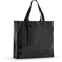 Bolsa de non woven laminado brillante negra personalizado