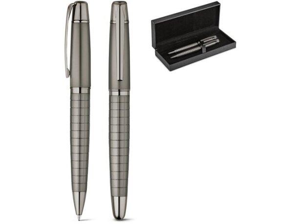 Conjunto refinado de roller y bolígrafo en estuche personalizado