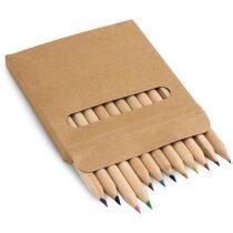 Caja de cartón con 12 lápices de madera de colores