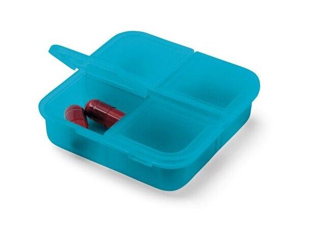 Pastillero cuadrado de colores con 4 departamentos azul claro