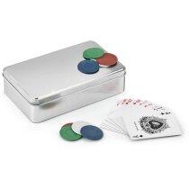 Juego de póker en caja de aluminio personalizado cromado satinado