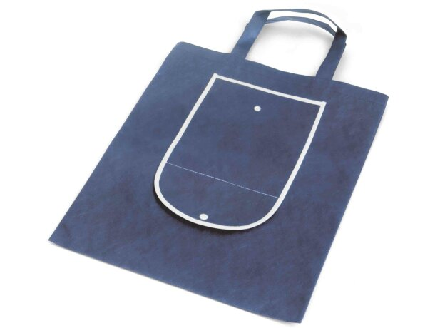 Bolsa plegable con bolsillo exterior personalizada azul