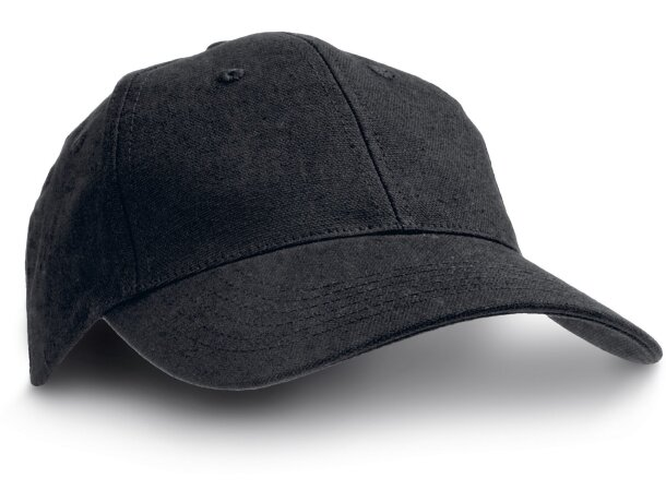 Gorra de 6 paneles de gran calidad para adulto personalizada negra