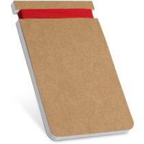 Bloc de notas de cartón con goma de color roja
