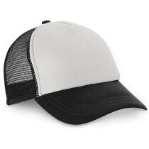 Gorra de rejilla con frontal blanco personalizada negra