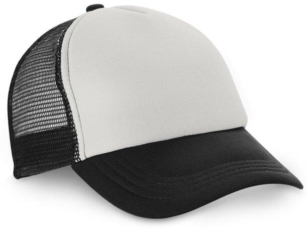 4ec209393174d Gorra de rejilla con frontal blanco personalizada negra