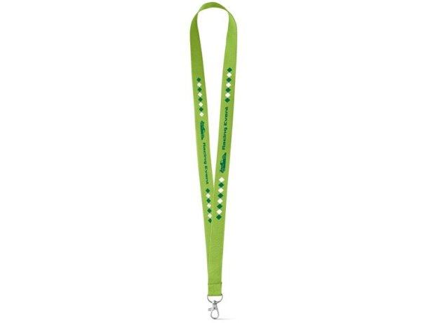 Lanyard con mosquetón para personalizar verde claro