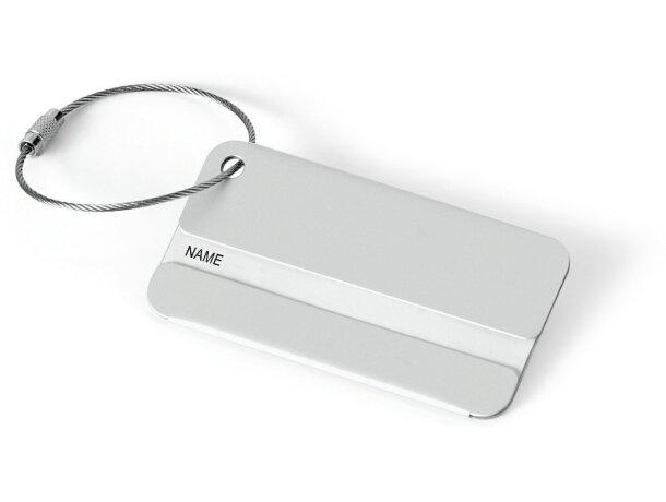 Identificador de aluminio con cable para maletas personalizado cromado satinado