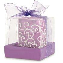 Vela en soporte de cristal con estuche personalizada lila