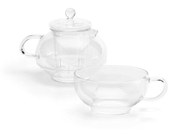 Set de té con taza y tetera personalizado transparente