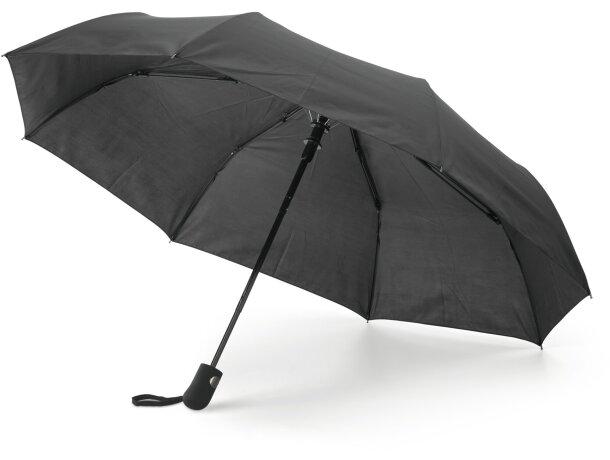 Paraguas plegable con goma personalizado negro