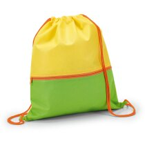Petate de non woven con bolsillo frontal personalizado amarillo