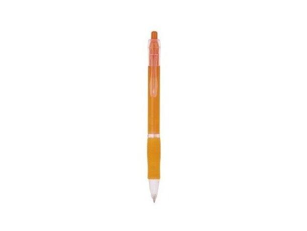 Bolígrafo de plástico con detalles transparentes