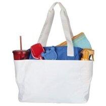 Bolsa de playa con amplios bolsillos frontales blanca