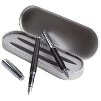 Set de bolígrafo y pluma con estuche metálico personalizado negro