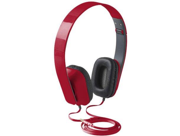 Auriculares plegables de plástico con almohadillas personalizada roja
