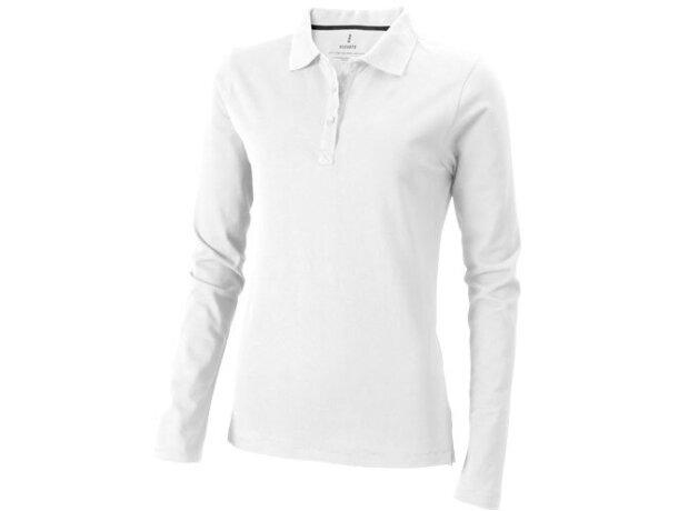 Polo de mujer en manga larga blanco con logo