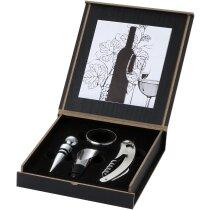 Set de vino con 4 piezas en caja de madera personalizado negro intenso