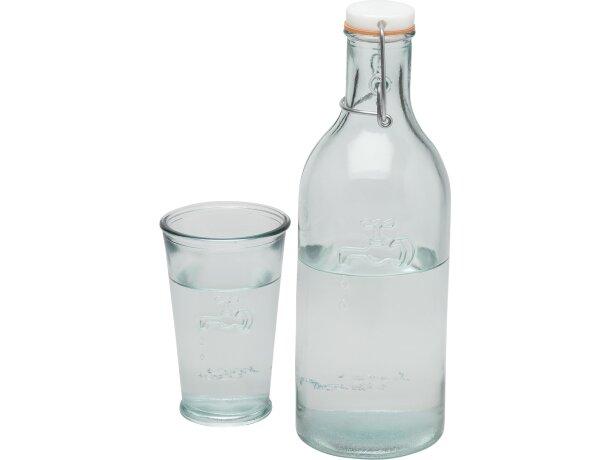 Set de botella de cristal con vasos personalizado transparente