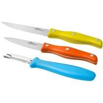 Set de cuchillos y pelador 3 piezas multicolor