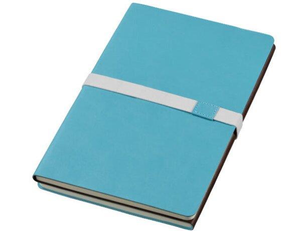 Bloc de notas combinada en polipiel y plástico azul