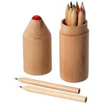 Estuche circular con 12 colores personalizado madera