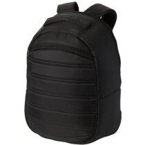 Mochila de nylon con bolsillo frontal personalizada negro intenso