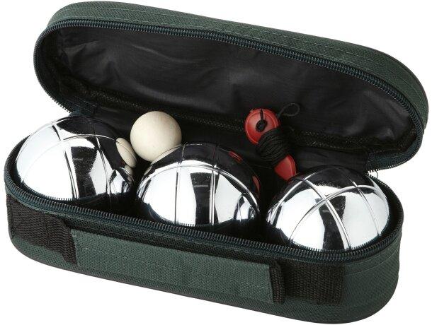 Juego de petanca de 3 bolas metálicas personalizado verde