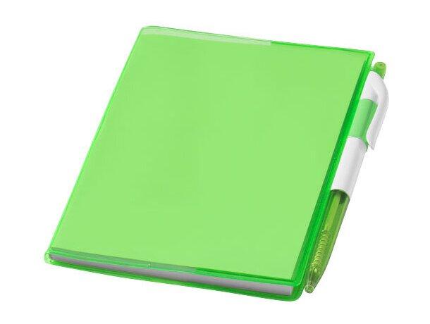 Cuaderno en tamaño A6 con bolígrafo barato verde transparente