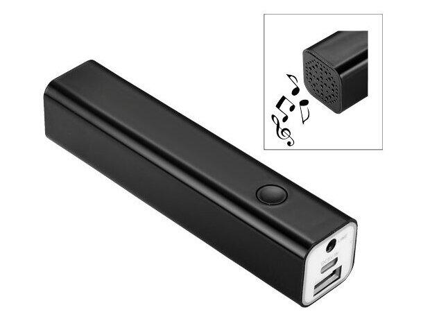 Altavoz bluetooth con batería externa de 2200 mah personalizada negro intenso