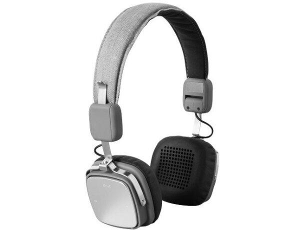 Auriculares de aluminio con bluetooth y micrófono personalizado gris